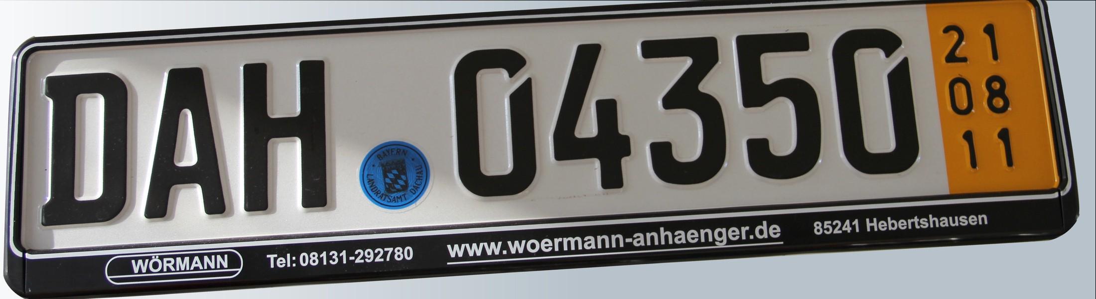 Licence Number Service Wormann Anhanger Pkw Anhanger